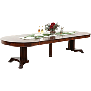 "Round 54"" Antique Mahogany Dining Table, 6 Leaves, Lion Paw Foot Pedestal"