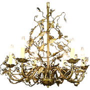 Vine Design 6 Candle Vintage Wrought Tin Chandelier