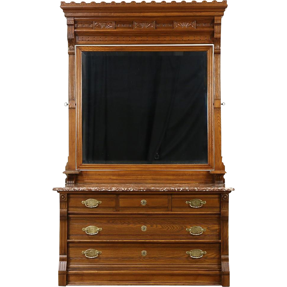 Victorian Eastlake Antique Marble Top Chest Or Dresser