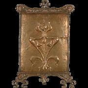 Art Nouveau or Arts & Crafts 1900 Antique Copper Fireplace Screen