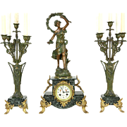 French Antique 1890's Signed Mantel Clock Set, Marble, Sculpture & Candelabra