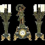 French Antique 1890's Signed Mantel Clock Set, Marble, Sculpture & Candelabra