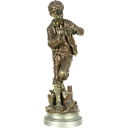 Sculpture of a Fishing Boy, Victorian 1880's Antique Statue