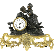 French Antique 1880's Bronze & Marble Mantel Clock, Pewter Statue of a Girl