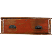 Country Pine & Oak Antique Tabletop Worn Paint Rustic Chest with Drawer