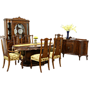 Romweber Louis XV de Gaulle 9 Pc Dining Set, Table, 6 Chairs, Sideboard & China
