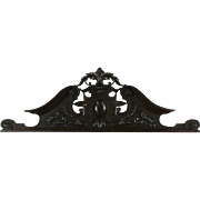 French Carved Oak Crest or Pediment, 1890 Architectural Salvage Fragment