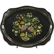Toleware Antique 1850's Hand Painted Tin Serving Tray