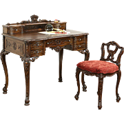 French Style Antique Carved Writing Desk & Chair Set, New Upholstery