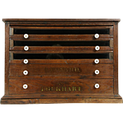 Spool Cabinet, Victorian Antique Walnut Countertop Collector or Jewelry Chest