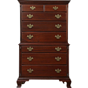Traditional Vintage Mahogany Highboy Tall Chest on Chest, Signed Kling NY