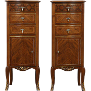 Berkey & Gay Signed Pair of Inlaid Marquetry Nightstands or Pedestal Cabinets