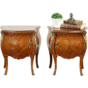 Pair Italian Tulipwood Marquetry Bombe Nightstands or End Tables