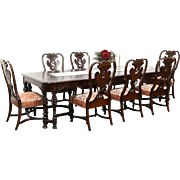 Carved Walnut & Burl 1915 Antique Dining Set, Table & 8 Chairs Signed Scholles
