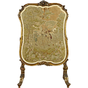 French Antique 1870's Firescreen, Needlepoint & Petit Point, Gold Leaf