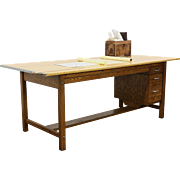 Drafting Table, Counter, Kitchen Island, 1950 Vintage 8' Long, Signed Mayline