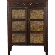 Pie Safe Pantry Cupboard, 1890 Country Antique, Punched Tin Panels