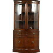 Corner Cabinet, Curved Glass, Traditional Vintage Cupboard Signed R Way