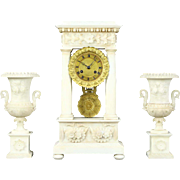 French Hand Carved Alabaster & Bronze 3 Pc. Antique 1840 Mantel Clock Set