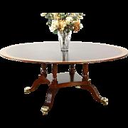 Round 6' Sunburst Banded Vintage Mahogany Dining Table, Birdcage Pedestal