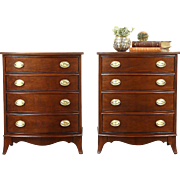 Pair Traditional Vintage Chests, Nightstands or End Tables, Signed Thomasville
