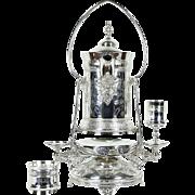 Victorian 1888 Antique Silverplate Water Pitcher & Goblets, Schmidt Brewery