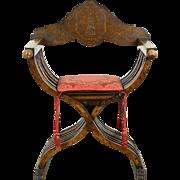Savonarola Italian Antique 1890's Chair, Inlaid Marquetry