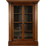 Oak 1900 Antique Library Bookcase, Wainscoting, Columns, Wavy Glass Doors