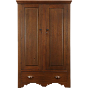 Country Walnut Ohio Antique 1860 Armoire, Wardrobe or Closet