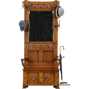 Victorian Carved Oak Hall Stand, Beveled Mirror, Umbrealla Holder, Bench Storage