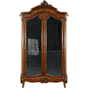 French 1900 Antique Carved Walnut Armoire Wardrobe Beveled Mirrors, Curved Sides