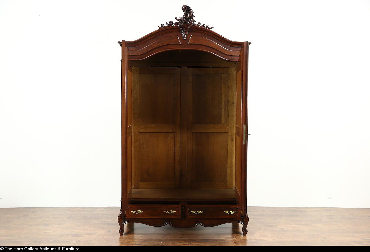 Roll over Large image to magnify, click Large image to zoom - French 1910 Antique Mahogany Armoire Or Wardrobe, Beveled Mirror