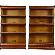 Pair of 4 Stack 1910 Antique Lawyer Bookcases All Original Signed Globe Wernicke
