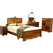 Art Deco 1935 Vintage 5 pc. Queen Size Bedroom Set, Bed, 2 Chests, Nightstands
