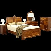 Art Deco 1935 Vintage 5 pc. Queen Size Bedroom Set, Bed, 2 Chests, Nightstands