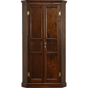 Oak 1910 Antique Corner Cabinet Armoire, Closet or Wardrobe