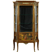 French 1925 Antique Curio Display Cabinet Vitrine, Marble Top, Signed Painting