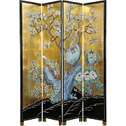 Chinese 4 Panel Gold Leaf Coromandel Carved Lacquer Vintage Screen