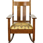 Arts & Crafts Mission Oak Rocker, Antique Craftsman Rocking Chair New Upholstery