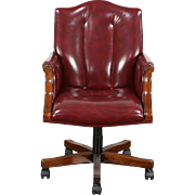 Desk Swivel Chair, Adjustable Vintage Leather & Mahogany, Signed Councill