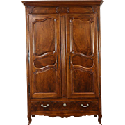 French 1825 Antique Carved Walnut Armoire, Wardrobe, Entertainment Center