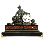 Shakespeare Bronze Sculpture Antique French Marble Signed Mantel Clock