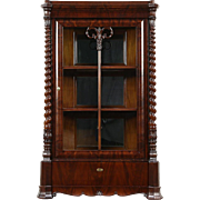 Empire Antique Austrian 1840 Carved Mahogany China Curio Display Cabinet