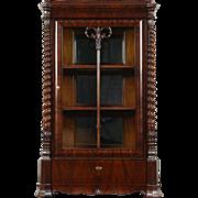 Empire Antique Austrian 1840 Carved Mahogany China Curio Display Cabinet