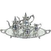Wallace Baroque Silverplate 5 Pc. Vintage Coffee & Tea Service with Butler Tray