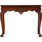 Georgian Style Carved Mahogany Combination Gateleg Console & Game Table