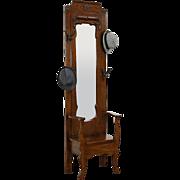 Oak Hall Stand & Seat, Coat & Hat Hooks, Antique Beveled Mirror