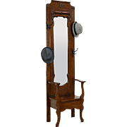Oak Hall Stand & Seat, Coat & Hat Hooks, Antique Beveled Mirror