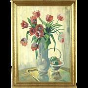 Tulips Still Life Original Oil Painting, 1930's Denmark, Signed
