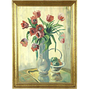Tulips Still Life Original Oil Painting, 1930's Denmark, Signed